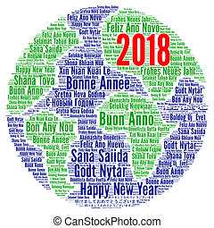 Happy New Year 2018 in different languages