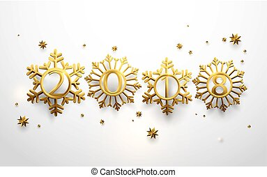 Happy new year. 2018 in Gold snowflakes