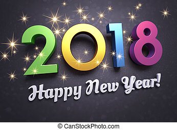 Happy New Year 2018 joyful Greeting card - Colorful New year...