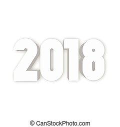 Happy New Year 2018. Modern design element with gradient shadow effect on white background. Vector illustration