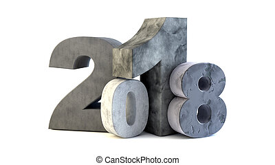 Happy new year 2018 - New 2018 year rock figures isolated on...