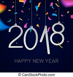 Happy New Year 2018 night party confetti card