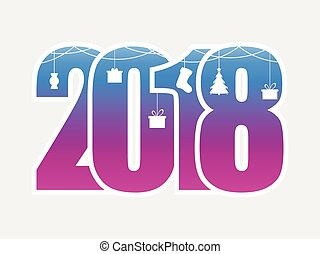 Happy New Year 2018. Numbers with hanging Christmas toys. Vector illustration