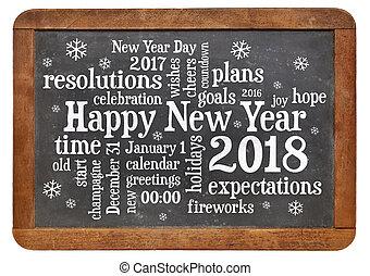 Happy New Year 2018 on blackboard