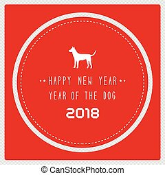 Happy new year 2018 on red background