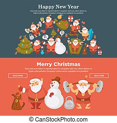 happy new year 2018 or christmas santa snowman cartoon web banners vector design template