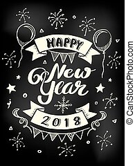 Happy New Year 2018 poster lettering