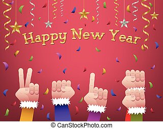 Happy new year 2018 shaped hands