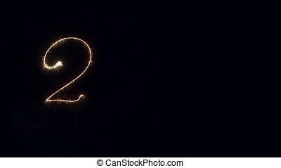 Happy New Year 2018 sparkler Writing