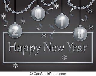 happy new year, 2018, stříbrný, a, čerň