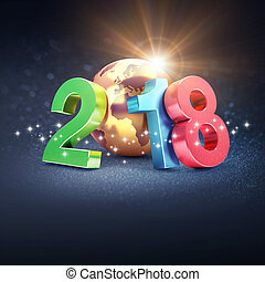 Happy New Year 2018 symbol for Greeting Card