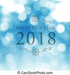 Happy New Year 2018 symbol on blue abstract blur background.