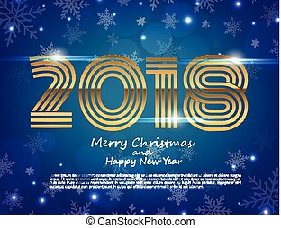 Happy New Year 2018 text design. Vector greeting illustration