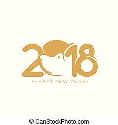 Happy new year 2018 vector illustration.