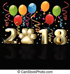 Happy new year 2018 with balloons
