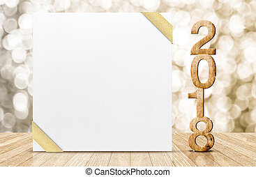 Happy new year 2018 with blank white greeting card with gold...
