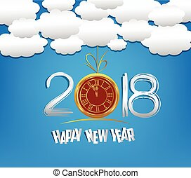Happy new year 2018 with clock and cloud and sky background