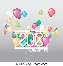 Happy New Year 2018 with colorful balloons.