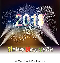 Happy new year 2018 with Firework background