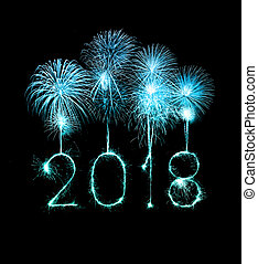Happy new year 2018 with Sparkle firework at night - Happy...