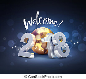 Happy New Year 2018 worldwide Greeting card
