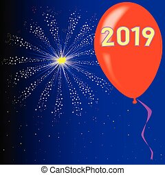 Happy New Year 2019 - A flyaway red balloon with a skyrocket...