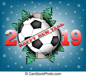 Happy New Year Soccer Competition Winner 2019 Vector Happy New