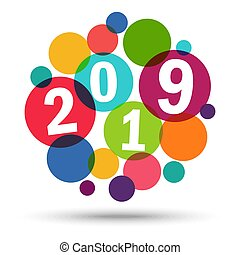 Happy New Year 2019 background - colored background concept...