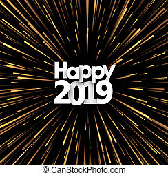 Happy New Year 2019 background with golden firework.