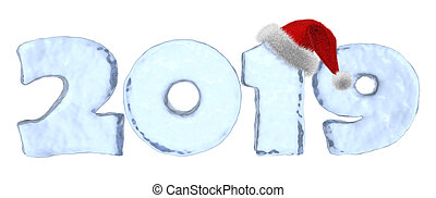 Happy New Year 2019 blue ice text with red hat