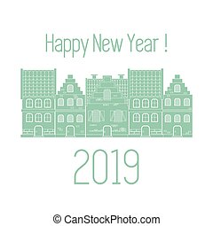 Happy New Year 2019 card. Vector houses.