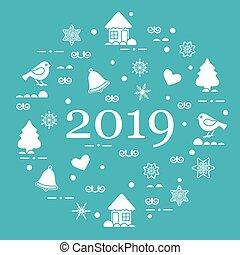 Happy New Year 2019 card. Vector illustration.