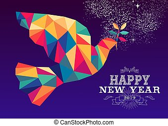 Happy new year 2019 dove triangle hipster color - Happy new...