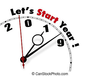 Happy New Year 2019 - english version - White clock with ...