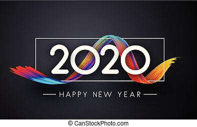 Happy New Year 2019 festive poster with gradient brush stroke on grey background.