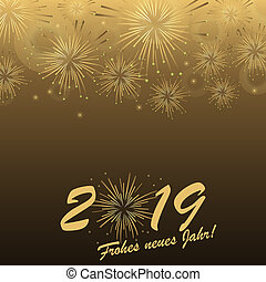 Happy New Year 2019 fireworks concept - golden colored...