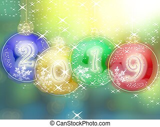 Happy New Year 2019 glowing background