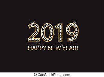 Happy new year 2019 gold background vector