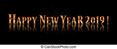 Happy new year 2019. Gold lettering on a black background. Vector illustration