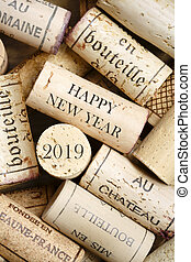 Happy New Year 2019 greeting card with wine corks. No visible trademarks