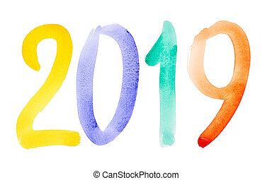 Happy New Year 2019 - Hand drawn colorful watercolor lettering