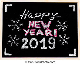 Happy new year 2019, hand writing with chalk on blackboard, vintage concept