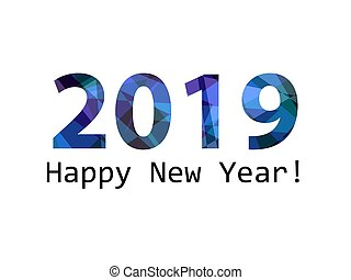 happy new year 2019 in mosaic on white background
