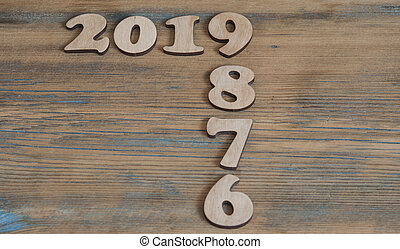 Happy new year 2019, Number wood material on wooden table, ?opy space