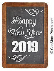 happy new year 2019 on blackboard