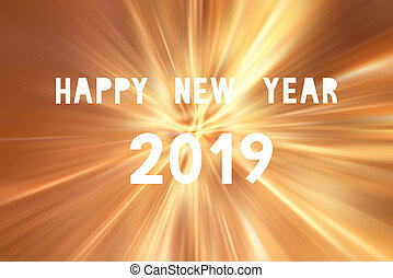 Happy new year 2019 on orange lights blur background