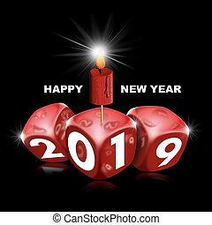 Happy New Year 2019 - Red Dice and Candle