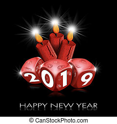 Happy New Year 2019 - Red Dice and Candles