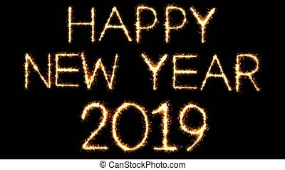 Happy New Year 2019 Text Sparkler Glitter Sparks Firework...