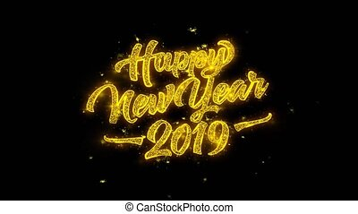 Happy New Year 2019 Typography Written with Golden Particles...